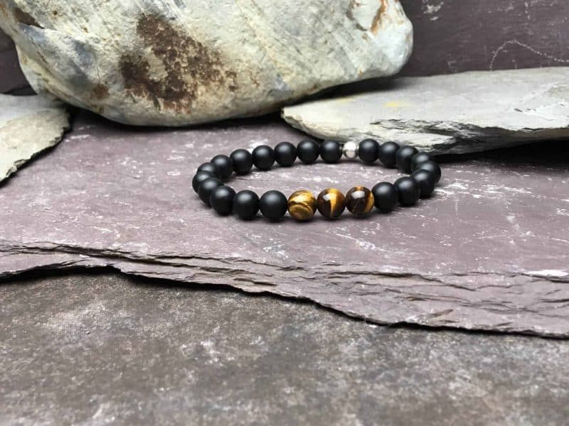 Black Onyx and Tigers Eye Bead Bracelet
