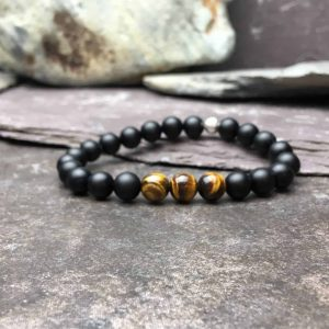 Onyx and Tigers Eye Bead Bracelet