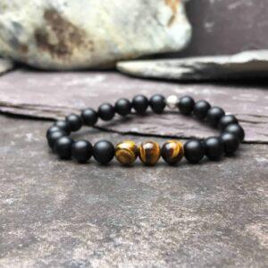 Onyx and Tigers Eye Bead Bracelet