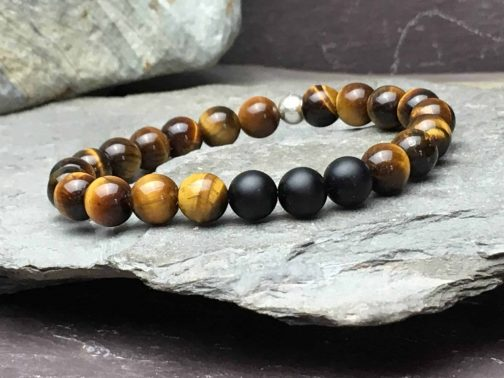 Tigers Eye and Onyx Grade A Bracelet