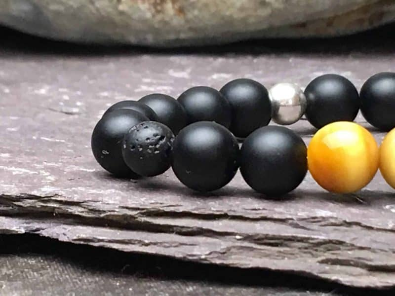 Honey Gold Tigers Eye, Lava Stone and Onyx Diffuser Bracelet