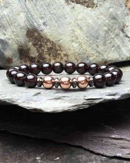 Garnet and Rose Gold Colour Bracelet