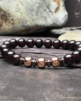 Garnet and Rose Gold Colour Bracelet
