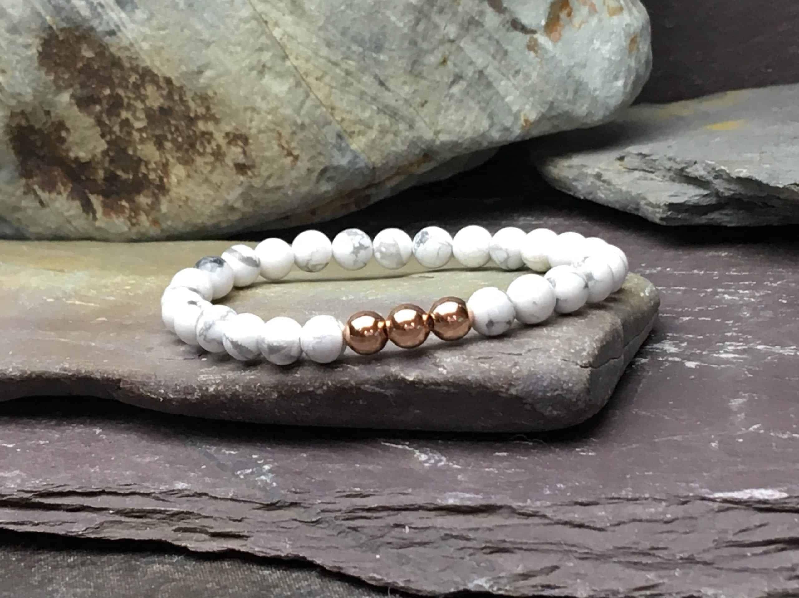 Howlite & Rose Gold Plate 6mm Bead Bracelet