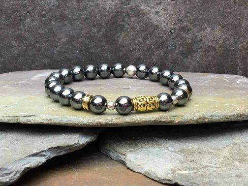 Tibetan Style Hematite and Sterling Silver Bead Bracelet