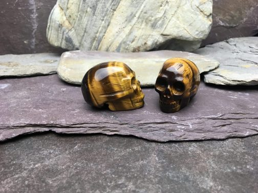 Polished Tigers Eye Crystal Skull