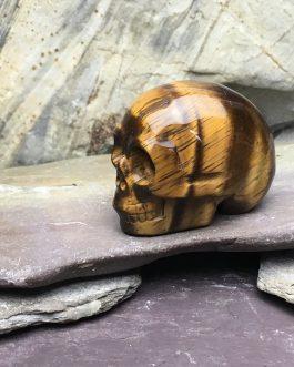 Polished Tigers Eye Crystal Skull