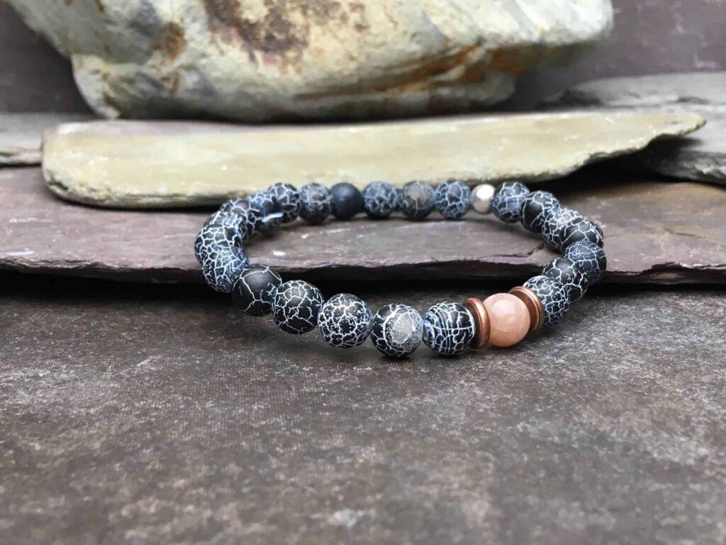black wind fossil agate beaded bracelet