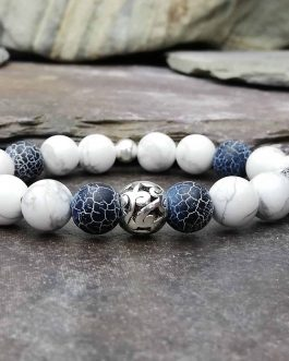 Wind Fossil Agate & Howlite Bracelet