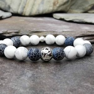 10mm Black Wind Fossil Agate Beaded Bracelet with White Howlite