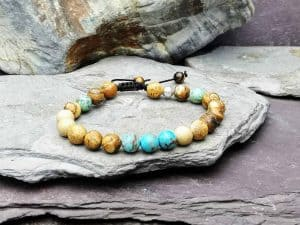 picture Stone jasper and impression jasper beaded bracelet with macramé slide knot. Essential oils diffuser bracelet