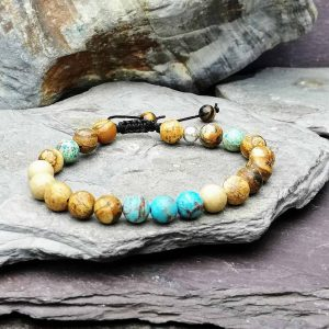 picture Stone jasper and impression jasper beaded bracelet with macramé slide knot. Essential oils diffuser bracelet
