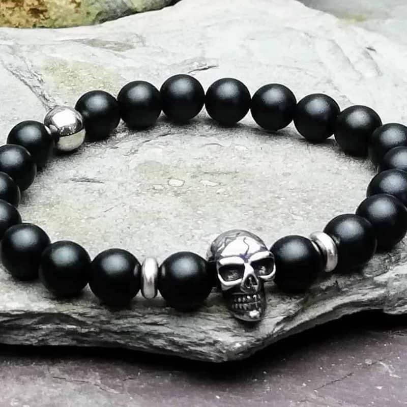 Matt Onyx and Skull Bracelet
