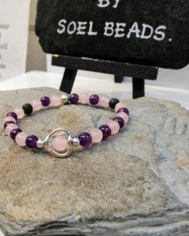 Rose Quartz and Amethyst Heart Bracelet