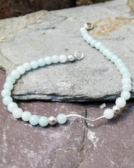 4mm Amazonite and Sterling Silver Bracelet