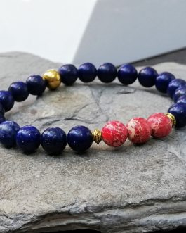 Lapis Lazuli and Regalite Beaded Bracelet