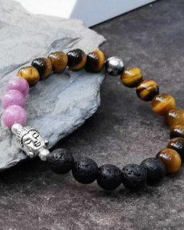 Agate and Lava Stone Buddha Bracelet