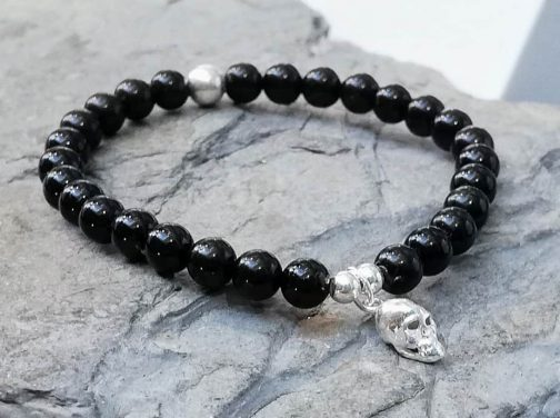6mm Onyx and Skull Charm Bracelet