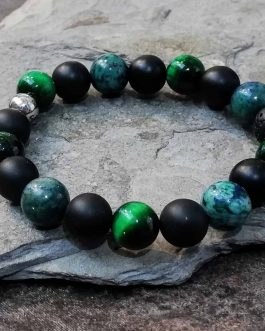 Azurite, Onyx and Tigers Eye Bracelet