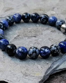 Sodalite and Snowflake Obsidian Bracelet