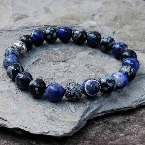 snowflake obsidian and sodalite beaded bracelet