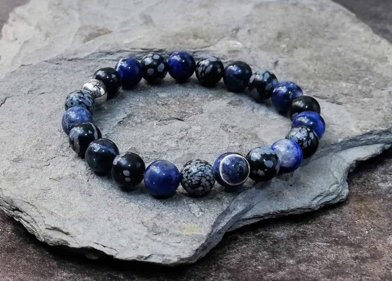 snowflake obsidian and sodalite beaded bracelet