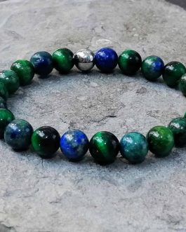 Azurite and Green Tigers Eye Bracelet