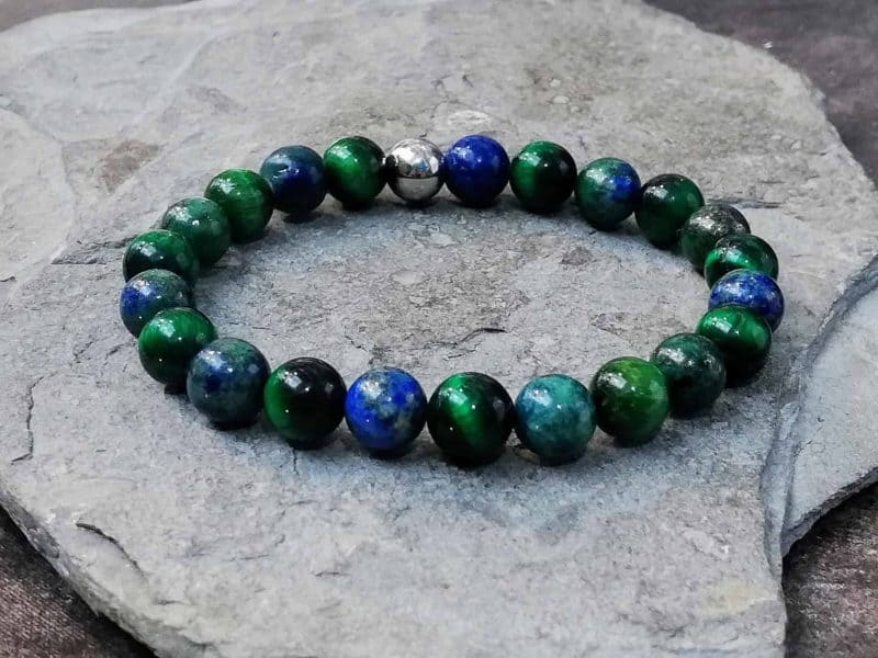 green tigers eye and azurite essential oil diffuser bracelet