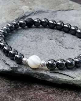 Mother of Pearl and Hematite Bracelet