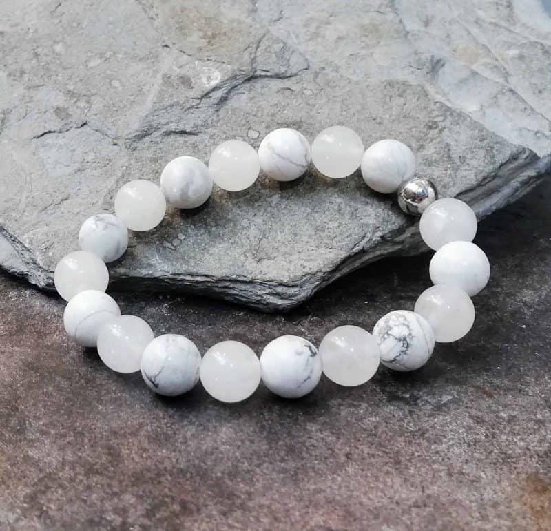 10mm Howlite and White Jade Bracelet