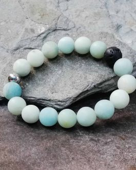 10mm Frosted Amazonite Diffuser Bracelet