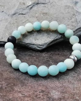 8mm Frosted Amazonite Diffuser Bracelet