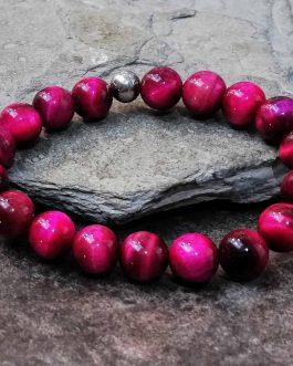 10mm Pink Tigers Eye Beaded Bracelet