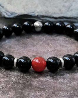 onyx and carnelian bead bracelet