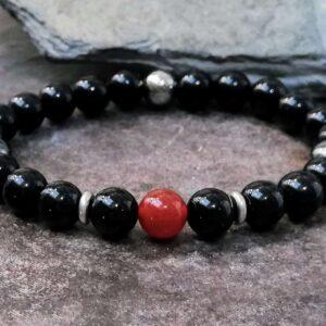 onyx beaded bracelet with carnelian