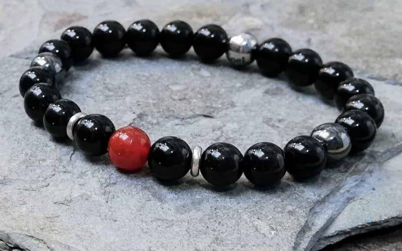 Onyx Beaded Bracelet with Carnelian. 8mm