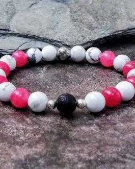 Deep Pink Agate and Howlite Bracelet