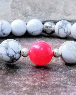 howlite and pink agate bead bracelet