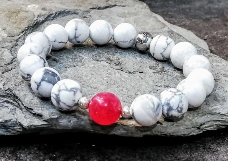 Howlite Beaded Bracelet with Pink Agate
