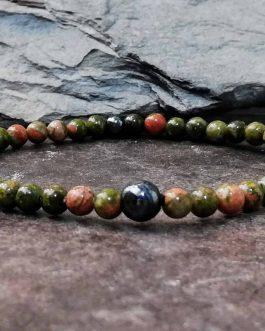 unakite and hematite 4mm bracelet