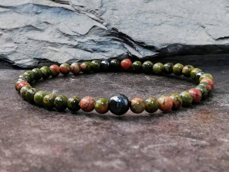 unakite and hematite 4mm bracelet