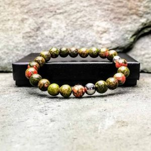 8mm Unakite Beaded Bracelet