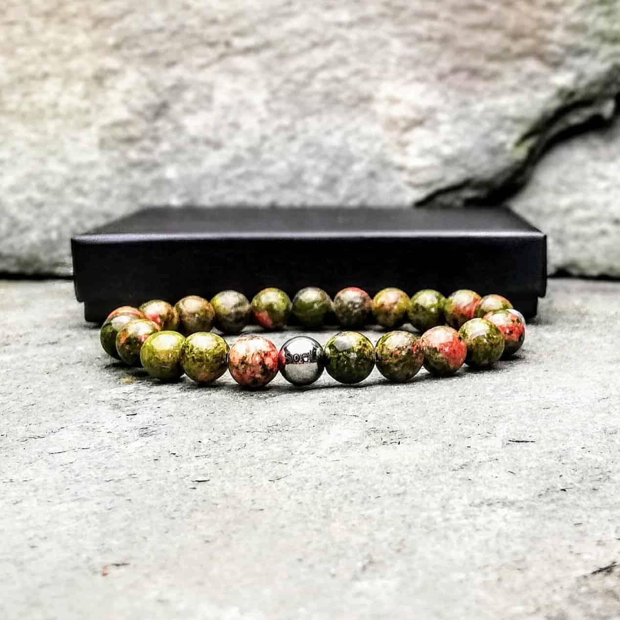 8mm Unakite beaded bracelet