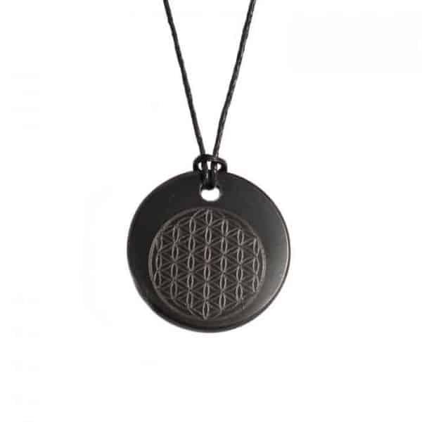 shungite crystal grid pendant