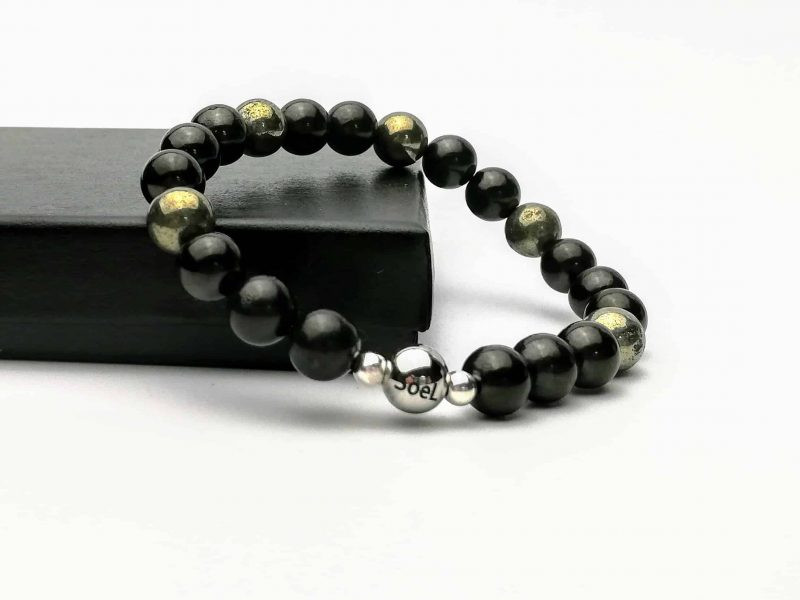 Shungite and Pyrite Beaded Bracelet