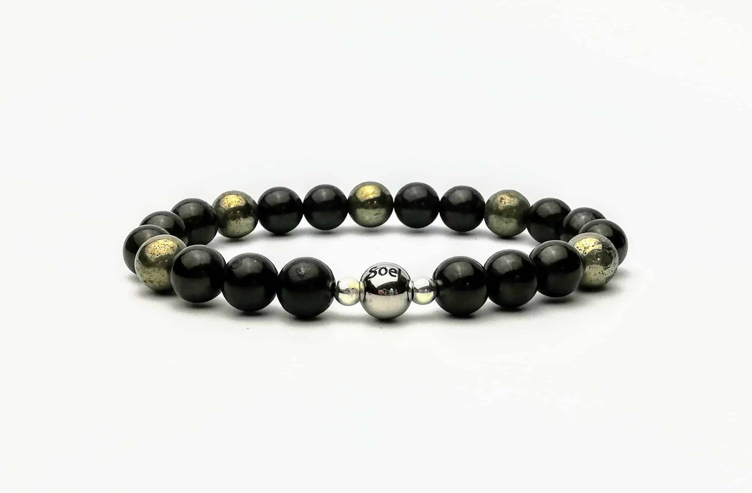shungite and pyrite 8mm beaded bracelet
