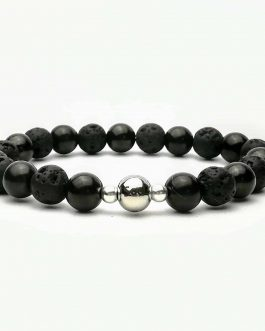 Shungite beaded bracelet with lava stone