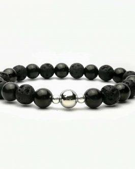 Shungite and Lava Stone 8mm Beaded Bracelet