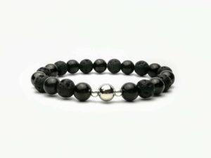 Shungite beaded bracelet with lava stone