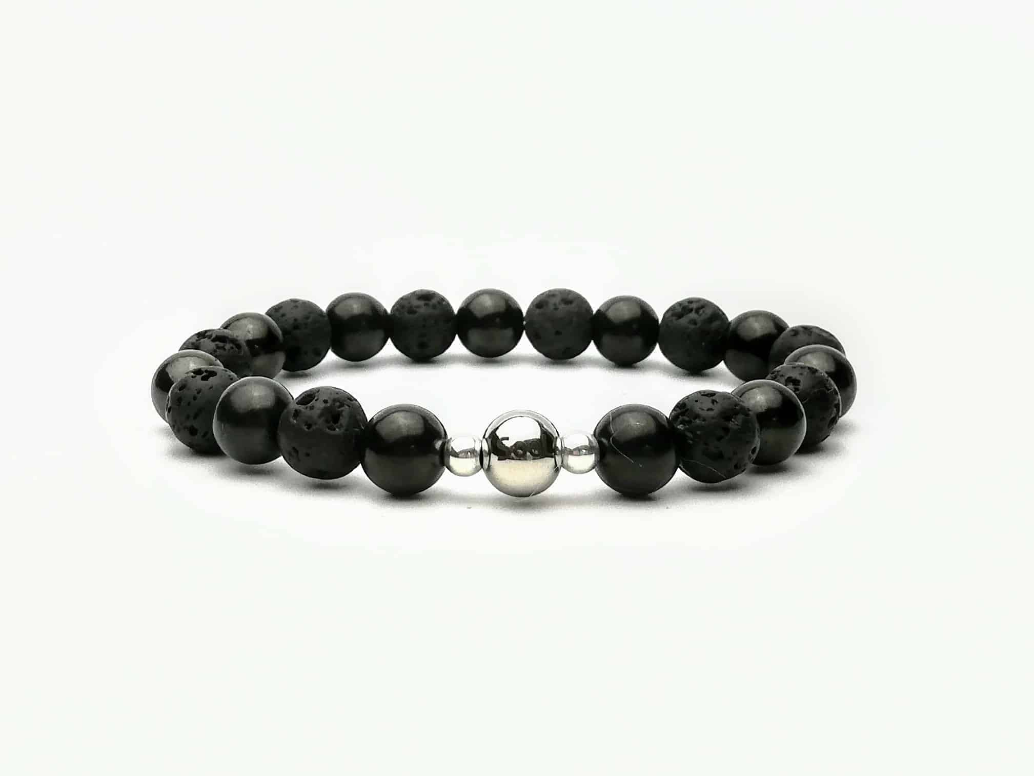 Shungite and Lava Stone 8mm Beaded Bracelet